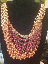 Vintage/VTG look J.Jill Brown Beaded cascading strand Necklace Gorgeous! - $11.88