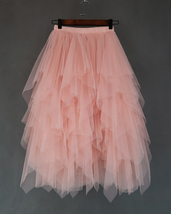 Love Me More Tulle Layered Skirt Pink High Low Long Layered Tulle Skirt Adults image 1