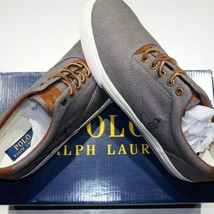 Polo Ralph Lauren low top twill with suede trim sneaker size 10.5 D  gray - $40.95