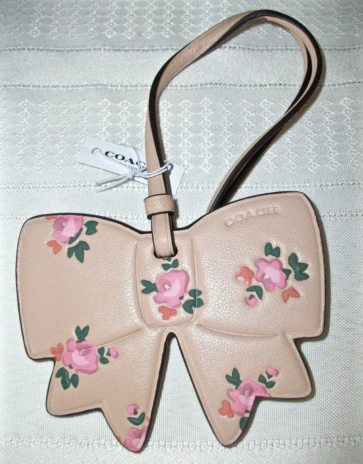Coach Boxed Leather Printed Floral Bow Charm Ornament 27417 Beechwood image 4