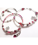 Handmade Bracelet Trio, Red, Silver, Crystal Fashion Accessory Set - $18.00