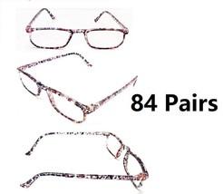 WHOLESALE LOT- 84 READING GLASSES PINK FLORAL DESIGN VARIOUS STRENGTH  - $75.00
