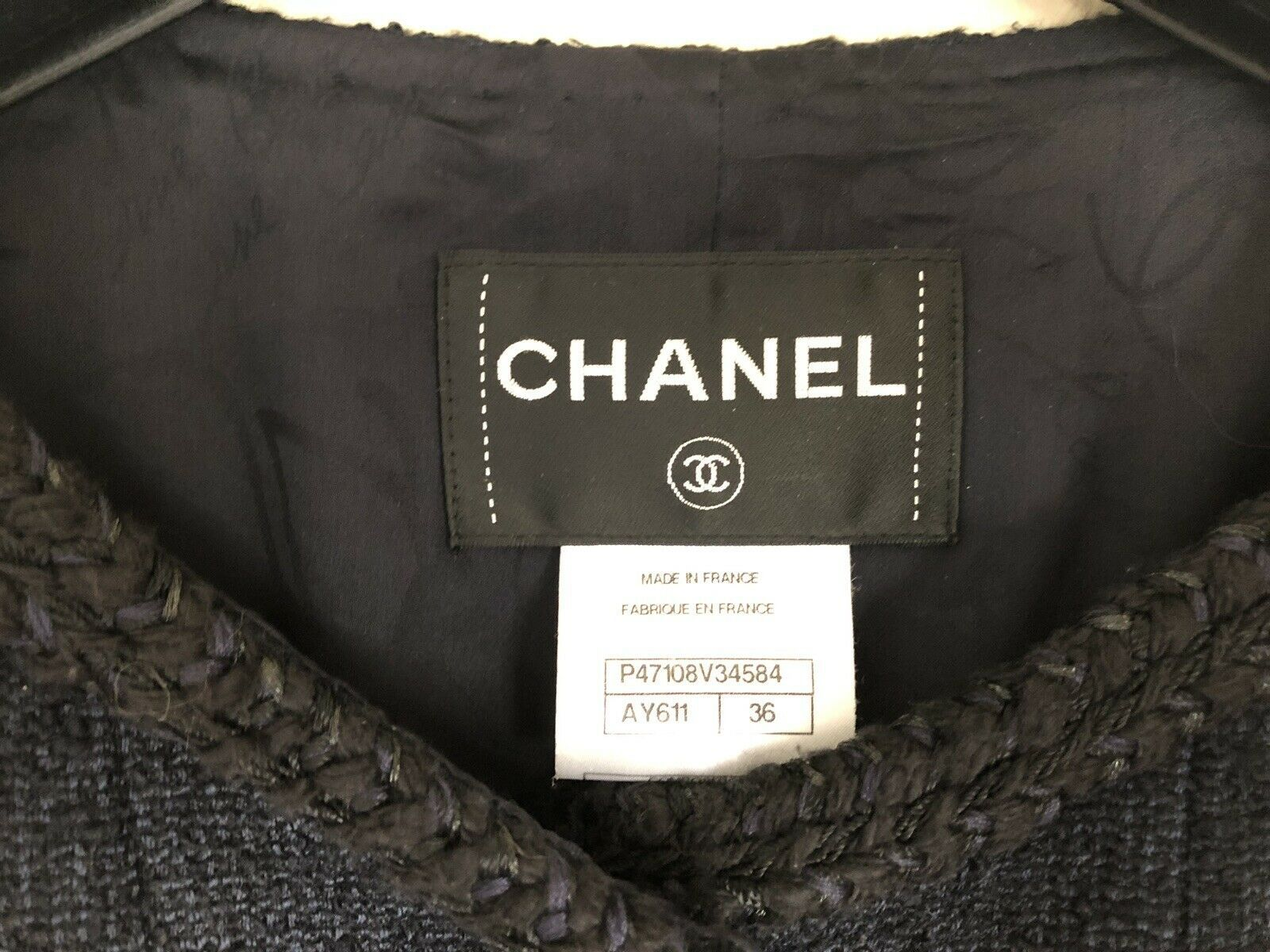 13A Chanel Classic Little Black Tweed Jacket 36