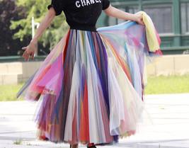 Pastel Rainbow Tulle Skirt Womens Plus Size Rainbow Maxi Skirt Pleated Stripe image 6