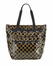 NWT $125 LeSportsac Monroe Tote Bag in Coated Nylon Olive Black Polka Dot  - $87.12