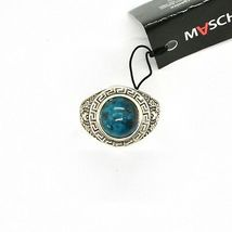 Silver Ring 925 Antique with Chrysocolla Turquoise Made in Italy by Maschia image 4