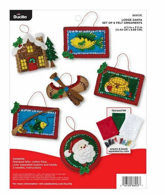 Primary image for Bucilla 'Lodge Santa' Felt Ornament Stitchery Kit, 86953E, Fishing Ornaments