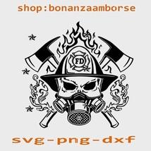 US Firefighter Skull Svg, US Firefighter svg Png Dxf digital files - $1.99