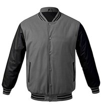 Maximos USA Men's Premium Vintage Baseball Letterman Varsity Jacket (Large, Gray