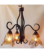 Western Bronze Chandelier Foyer Entry Light Primitive Vintage Edison Bul... - $192.54