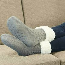 Women's Grey Thermal Sherpa Socks Thick Cozy Fuzzy Fleece-lined Bed Slippers image 3