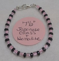 "Bracelet - 7-1/2"" - Pink Japanese Glass & Hematite Gemstone Beaded - BRCT #9147 - $3.00"