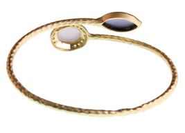 Blossom Box Gold Pl. Rose Quartz Purple Amethyst Cubic Zirconia Bangle Bracelet image 2
