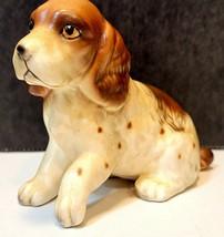 Vintage Lefton Bisque Porcelain Brown White Cocker Spaniel Figurine - $12.50