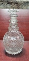 Hand Cut glass 3 ring neck decanter with mushroom stopper Antique - $120.62