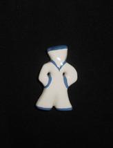 Ruby Z Ceramic Jewelry Sailor Navy Brooch Pin Vintage 1980s - $23.75