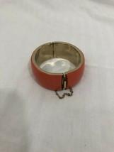 Vintage Bracelet Chunky Costume Retro ORANGE Gold Hinged Safety Chain - $19.75