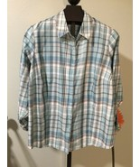 2X Allison Daley Womens Plaid Top Blouse Button up Roll Tab Long to 3/4 ... - $16.69