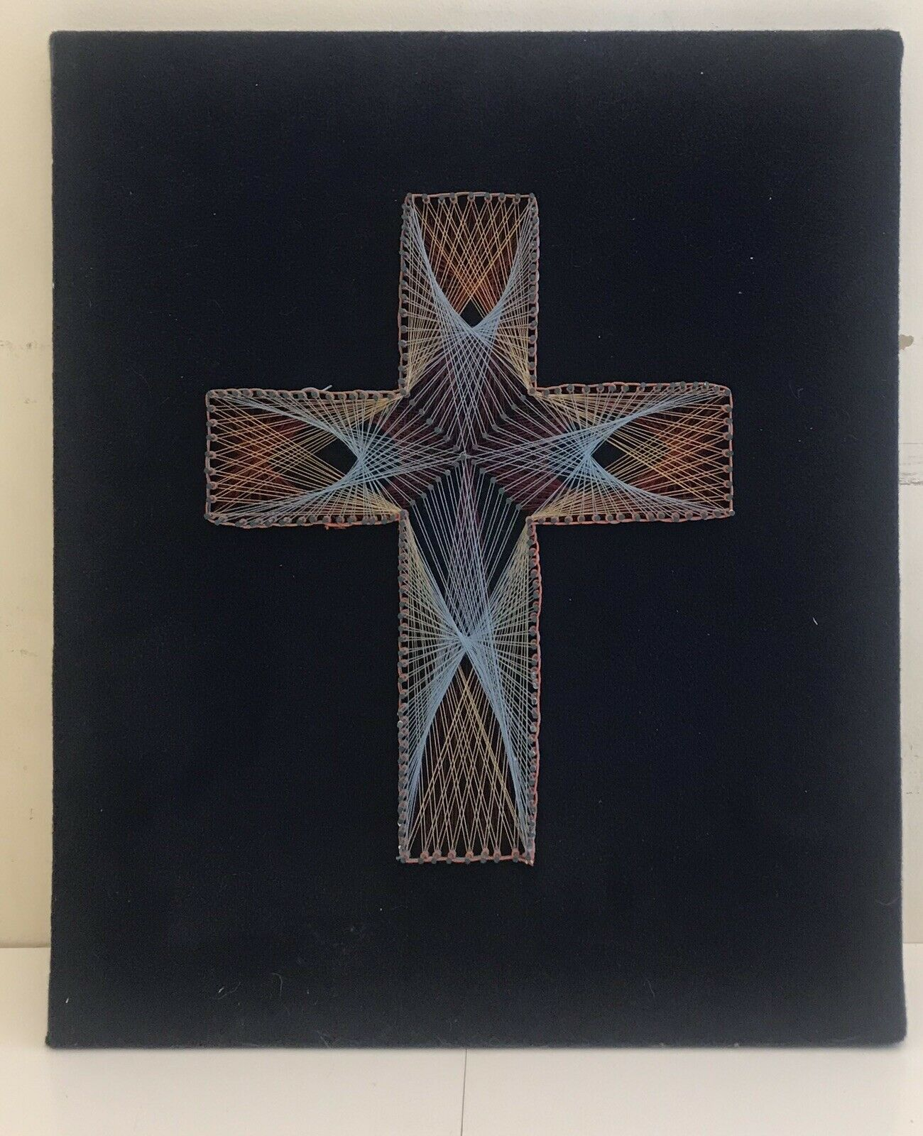"Primary image for Vintage 1984's  Cross handmade string and nail art 9""x 12""x1/2"""