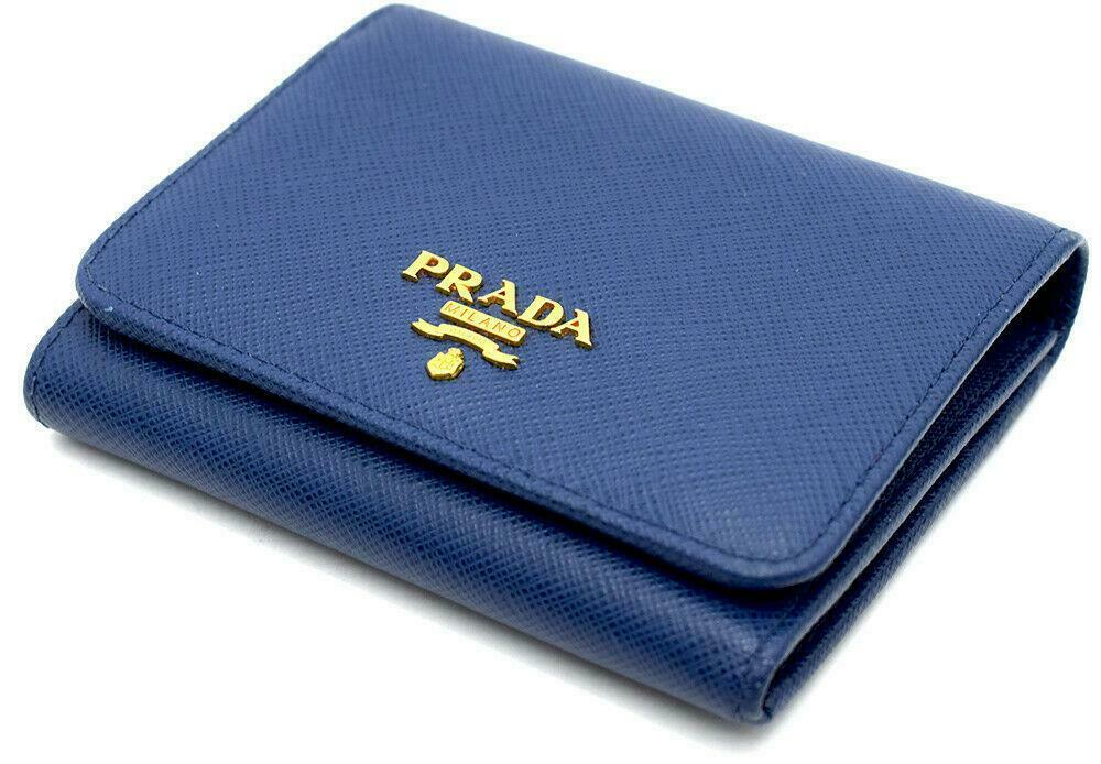 Authentic PRADA Leather Logo Wallet Women Purse Wallet Blue Trifold image 2