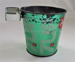 vintage TIN 7UP CAN BUCKET for TRASH ASHTRAY attach to post chair pole m... - $34.95