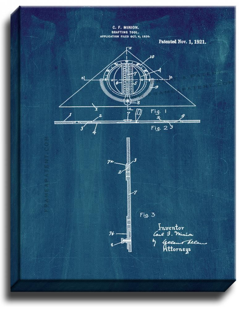 Primary image for Drafting Tool Patent Print Midnight Blue on Canvas