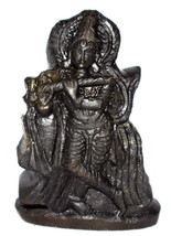 Lord Krishna Idol / Muralidhar Murti Carved on Natural Sudarshan Shaligram - $94.05