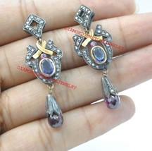 925 Sterling Silver Antique Rose Cut Diamond Garnet & Sapphire Dangle Ea... - $277.70