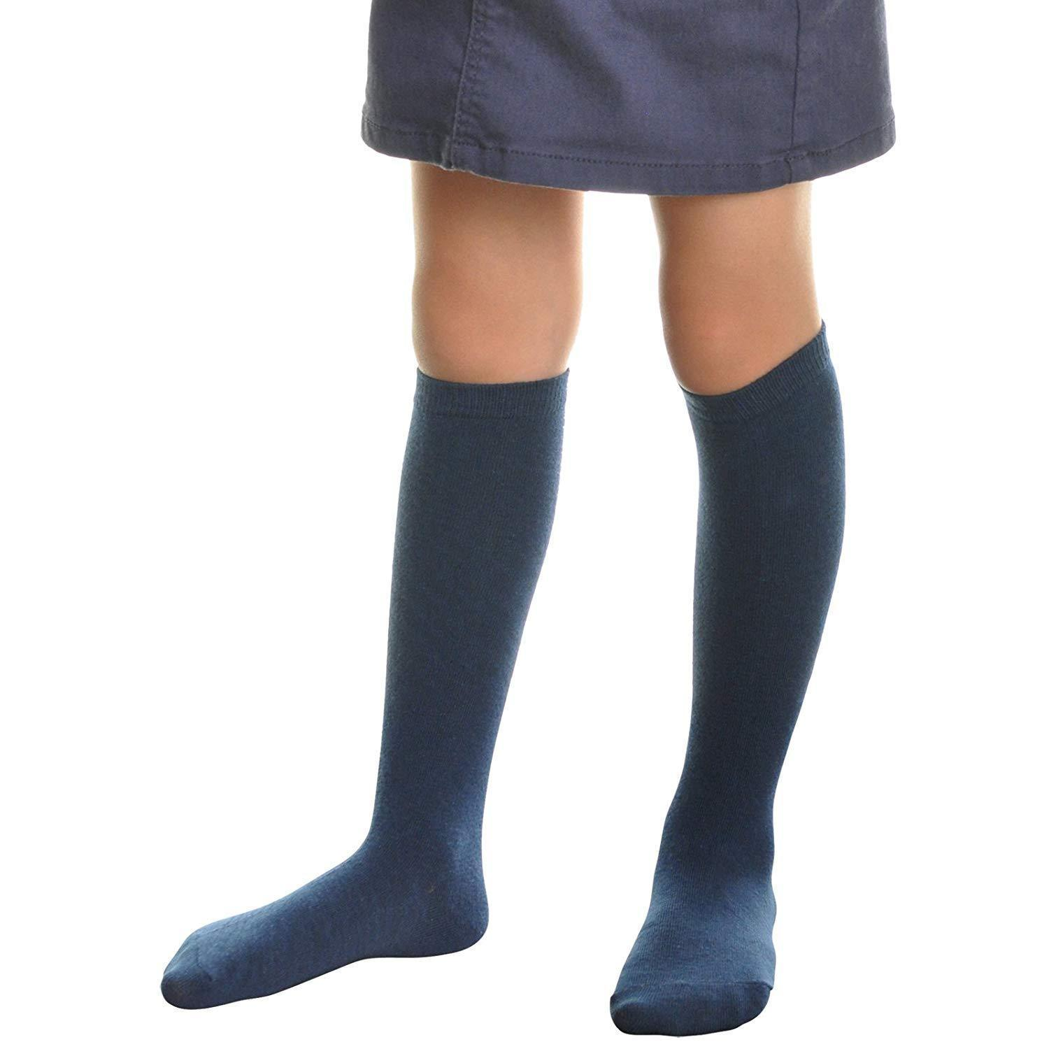 Angelina 11 Pair Pack Girl's Knee High Cotton Blend Socks Navy Size XL 3102