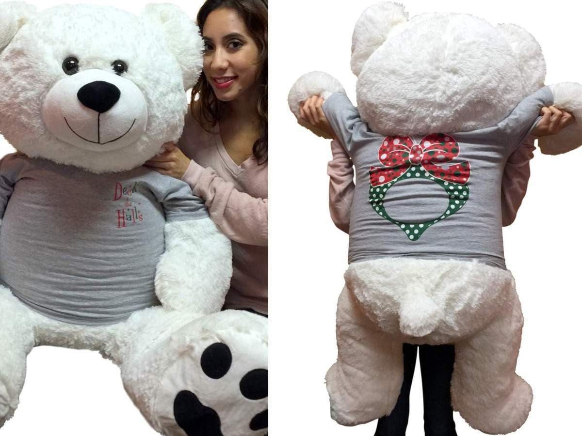 Primary image for 52-inch White Teddy Bear Wears 2-Sided Silver Tshirt says Deck the Halls on Fron