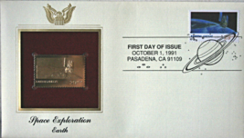 SPACE EXPLORATION- Earth First Day Gold Stamp Issue Oct. 1, 1991 - $7.50