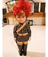 Vintage English Soldier Queens Guard Doll Hard Plastic Brass Helmet   - $29.69