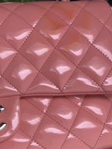 AUTHENTIC Chanel PINK PATENT QUILTED LEATHER MEDIUM Classic Double Flap Bag SHW image 8