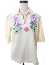 Vintage Embroidered Collared Blouse Floral Folk Top Medium - $19.00
