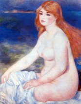 The blond bather #2 by Renoir - 24x32 inch Canvas Wall Art Home Decor - $51.99