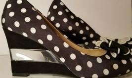 Black Polka-Dot ISAAC MIZRAHI NY Jujubee Suede/Lucite bow wedge heels sz 7.5 - $32.66