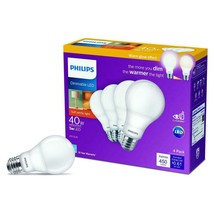Philips 548388 Omni-Directional A19 LED Bulb, Frosted, 5 Watts Warm Glow Dimming - $11.29