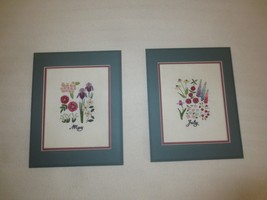 "Pair Matted MAY AND JULY Crewel Embroidered FLOWERS - 11"" x 13 3/4"" each - $9.85"
