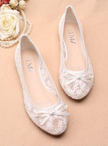 wedding shoes for bride low heel,flat white wedding shoes,wedding ballet flats - $38.00