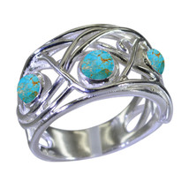 Natural Turquoise Silver Rings For Women Fashion Handmade Jewelry Round ... - $20.59