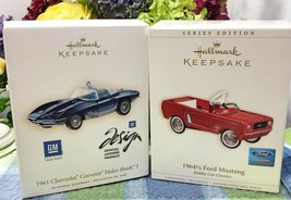 Hallmark 1964 1/2 Ford Mustang Ornament 2006 plus Corvette Mako Shark 1 2007 - $24.95