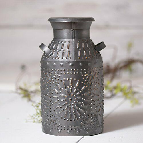 Primary image for Classic Country Single Light Punched Tin Milk Can Accent Lamp In Antique Silver