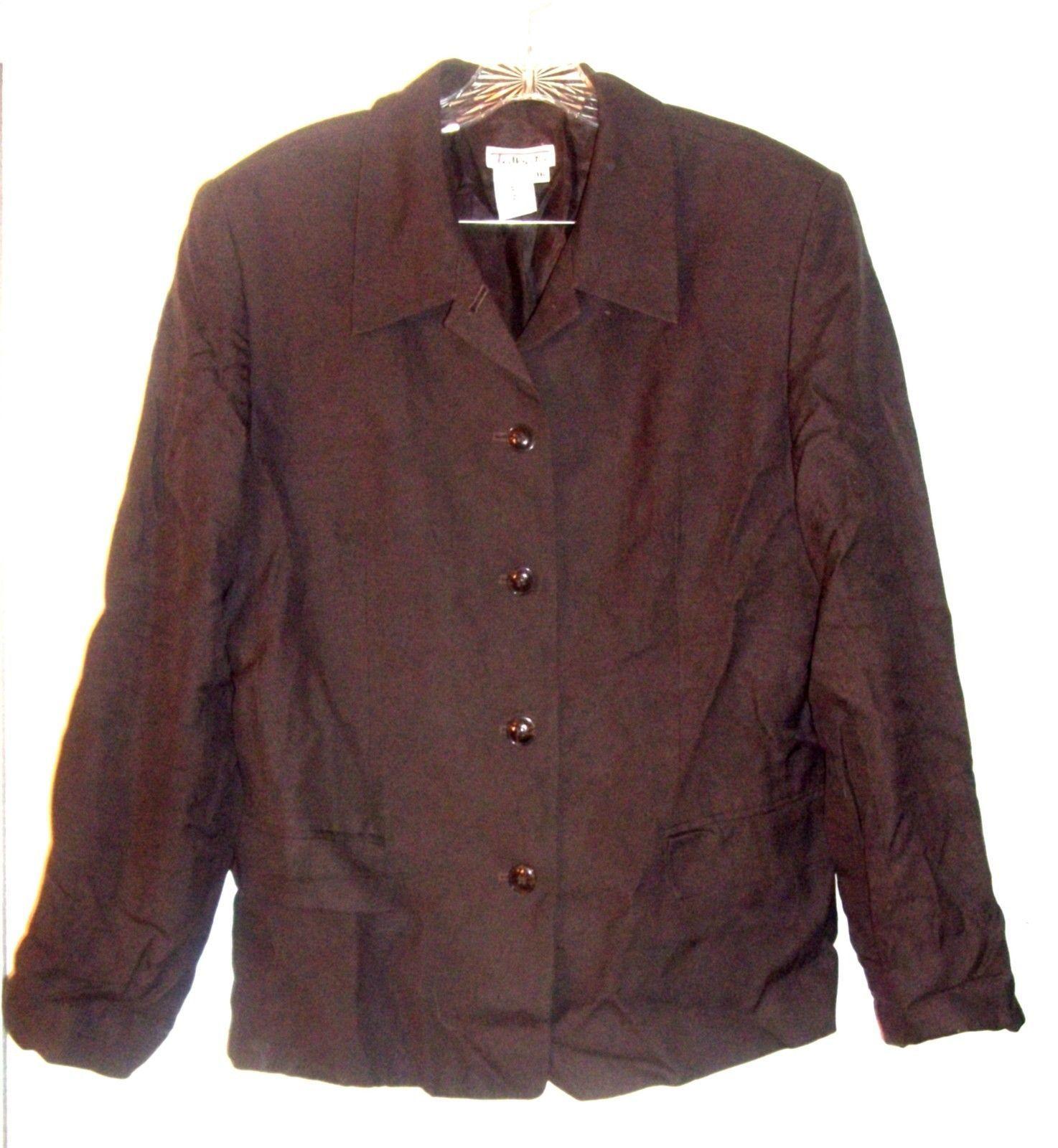 Sz 16 - Talbots Brown Rayon & Linen Blend Business Suit Jacket - $47.49