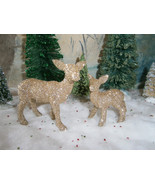 Miniature Champagne Mama doe and baby fawn. Glittered deer family. - $12.00