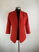 Anne Klein Womens Blazer Jacket 4 Small Red Gold Zipper Pockets 3/4 Sleeve - $98.99