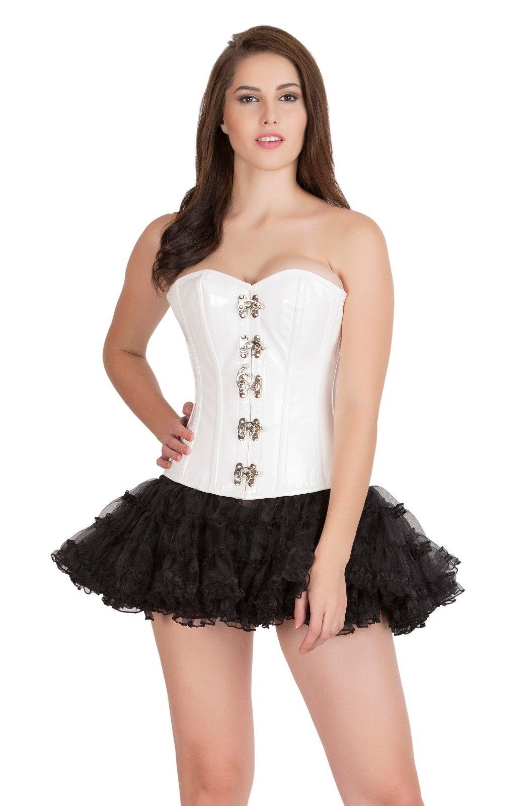 cab195fba10 57. 57. Previous. White PVC faux leather Goth Burlesque Steampunk tutu  Skirt Overbust Corset Dress
