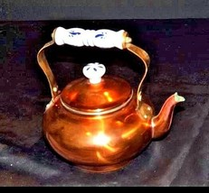 Teapot with White Glass Handle w/Blue Flowers and Lid AA18 - 1033 Brass