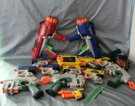 13 Assorted Hasbro Nerf N Strike Tag Dart Gun Toys Plus Darts C307A C044A 04-07 - $74.24
