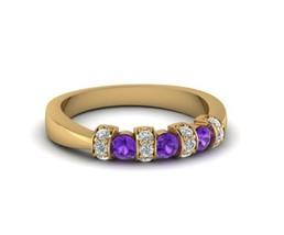 14K Yellow Gold Over 0.37Ct Purple & White Round Diamond Bar Ridge Weddi... - $83.99
