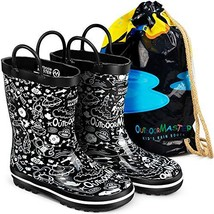 OutdoorMaster Kids Rain Boots - Illustrated Gift Bag, Easy-On Handles, B... - $24.51